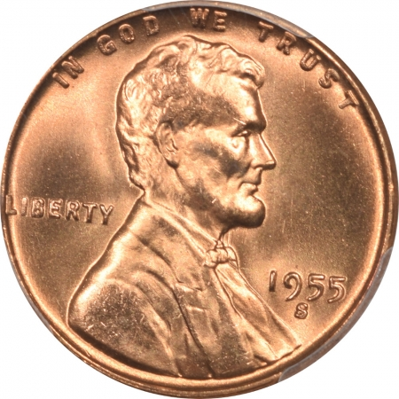 Lincoln Cents (Wheat) 1955-S LINCOLN CENT PCGS MS-67 RD