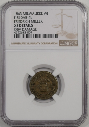 Civil War & Hard Times 1863 MILWAUKEE WI F-510AB-4B CIVIL WAR STORE CARD F. MILLER 1 GLAS NGC XF DET R8