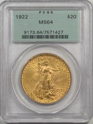 1922-$20G-PCGS-MS64-427-1