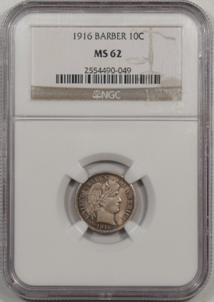 Barber Dimes 1916 BARBER DIME NGC MS-62
