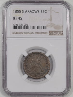 Coin World/Numismatic News Featured Coins 1855-S SEATED LIBERTY QUARTER WITH ARROWS NGC XF-45