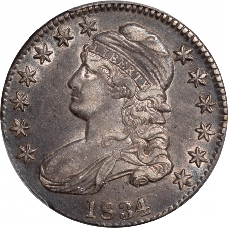Early Halves 1834 CAPPED BUST HALF DOLLAR – LG DATE, LG LETTER PCGS AU-50