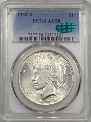 CAC Approved Coins 1934-S PEACE DOLLAR PCGS AU-58 PREMIUM QUALITY! CAC APPROVED!