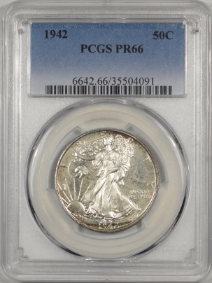 Walking Liberty Halves 1942 PROOF WALKING LIBERTY HALF DOLLAR PCGS PR-66