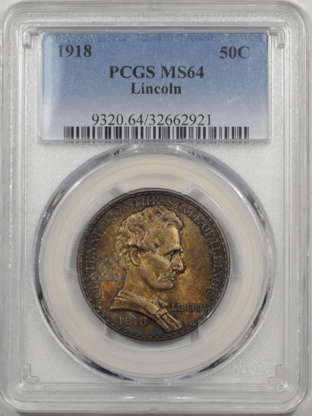 1918-LINCOLN-50C-PCGS-MS64-921-1
