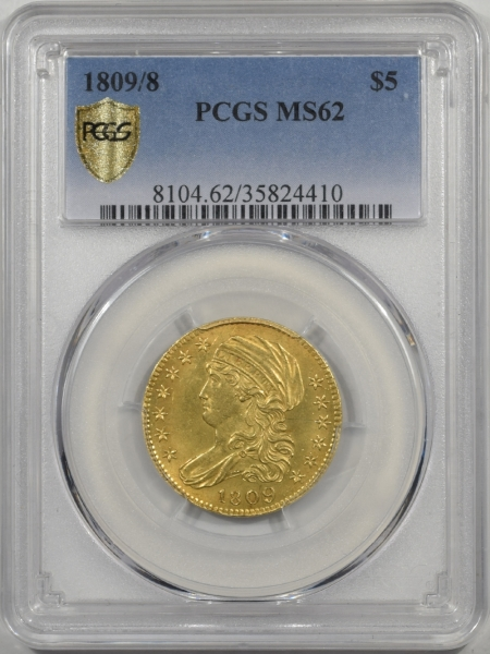 $5 1809/8 $5 CAPPED BUST GOLD PCGS MS-62