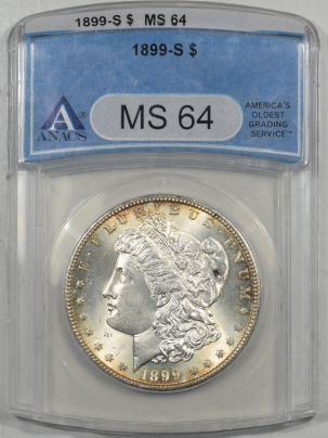Morgan Dollars 1899-S MORGAN DOLLAR ANACS MS-64, FLASHY & PQ!