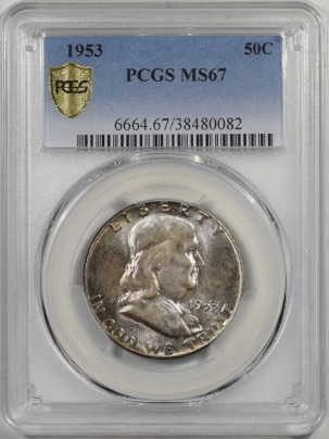 Coin World/Numismatic News Featured Coins 1953 FRANKLIN HALF DOLLAR PCGS MS-67, POP 3, JUST 1 FINER, PRETTY ORIGINAL TONED
