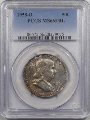 Coin World/Numismatic News Featured Coins 1958-D FRANKLIN HALF DOLLAR PCGS MS-66 FBL
