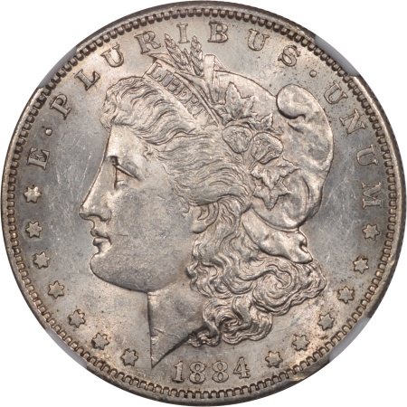 CAC Approved Coins 1884-S MORGAN DOLLAR NGC AU-58 PREMIUM QUALITY! CAC APPROVED!