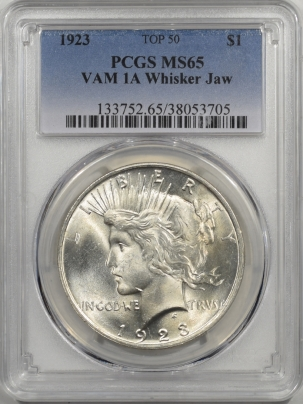 Peace Dollars 1923 PEACE DOLLAR PCGS MS-65 VAM 1A WHISKER JAW