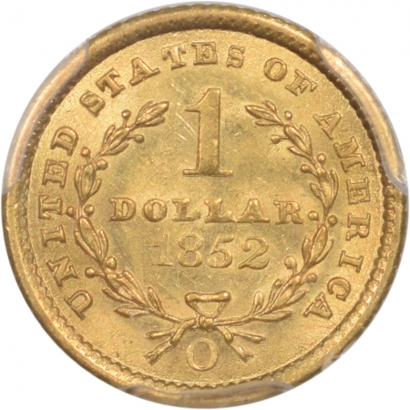 Coin World/Numismatic News Featured Coins 1852-O $1 GOLD DOLLAR PCGS MS-63+ PREMIUM QUALITY! CAC APPROVED!