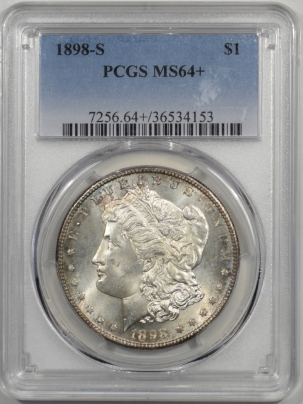 Coin World/Numismatic News Featured Coins 1898-S MORGAN DOLLAR PCGS MS-64+FLASHY & PQ!