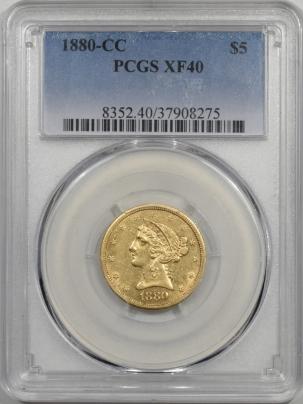 $5 1880-CC $5 LIBERTY GOLD PCGS XF-40 PREMIUM QUALITY!