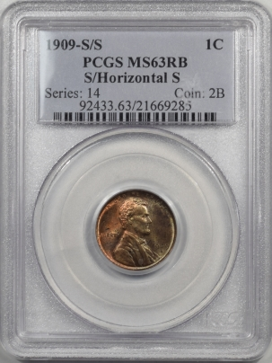 Lincoln Cents (Wheat) 1909-S/S LINCOLN CENT – S/HORIZONTAL S, PCGS MS-63 RB