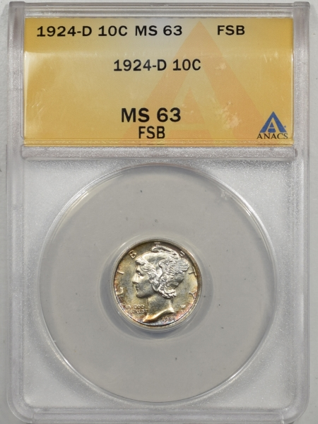 Mercury Dimes 1924-D MERCURY DIME ANACS MS-63 FSB