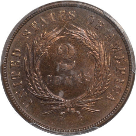 Two Cent Pieces 1873 PROOF TWO CENT PIECE, OPEN 3, PCGS PR-65 BN, ORIGINAL SPOT-FREE GEM, RARE