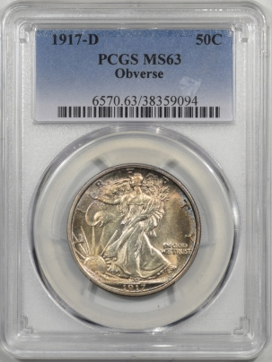 Walking Liberty Halves 1917-D WALKING LIBERTY HALF DOLLAR – OBVERSE PCGS MS-63
