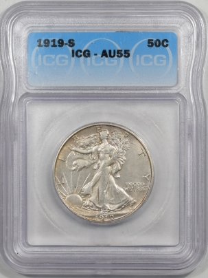 Walking Liberty Halves 1919-S WALKING LIBERTY HALF DOLLAR ICG AU-55