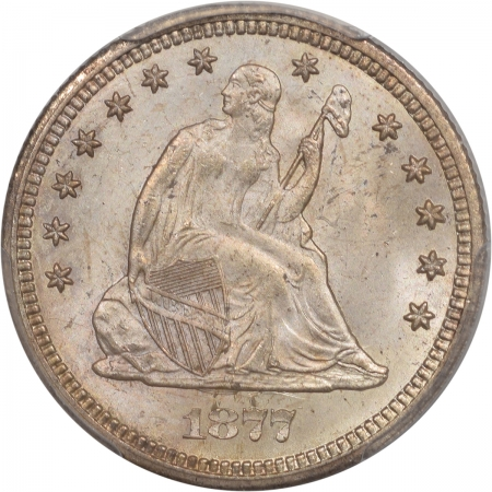 CAC Approved Coins 1877-CC SEATED LIBERTY QUARTER PCGS MS-64+ PREMIUM QUALITY! CAC APPROVED!