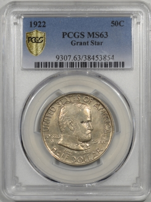 Silver 1922 GRANT STAR COMMEMORATIVE HALF DOLLAR PCGS MS-63