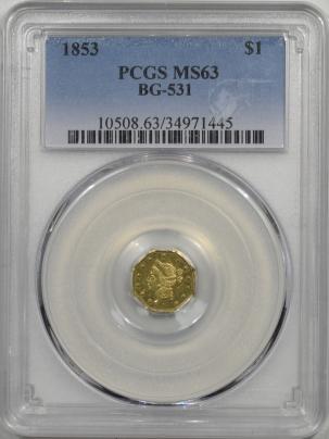 Territorial/California Fractional Gold 1853 $1 FRACTIONAL GOLD BG-531 PCGS MS-63