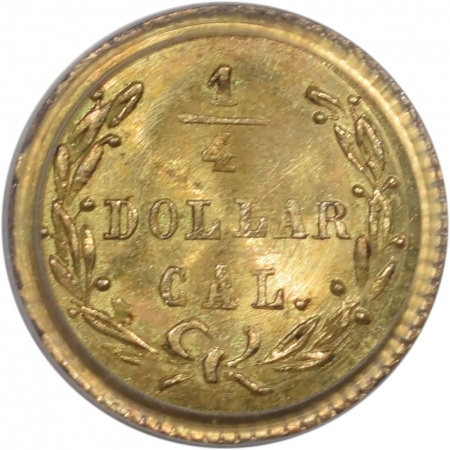 Territorial/California Fractional Gold 1872 25c FRACTIONAL GOLD BG-818 WASHINGTON HEAD PCGS MS-64