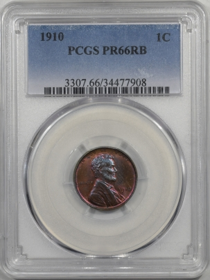 Lincoln Cents (Wheat) 1910 PROOF LINCOLN CENT PCGS PR-66 RB