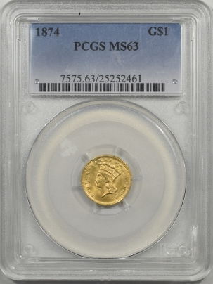 1874-G$1-PCGS-MS63-461-1