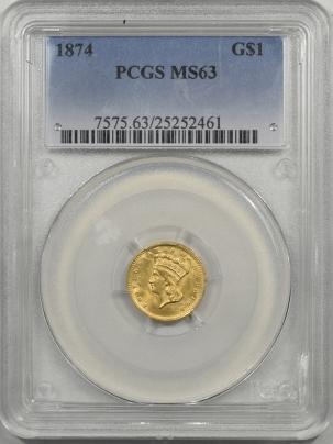 $1 1874 $1 GOLD DOLLAR PCGS MS-63