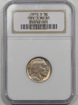 Buffalo Nickels 1913-D BUFFALO NICKEL TY I NGC MS-65