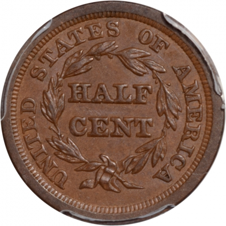 Braided Hair Half Cents 1849 BRAIDED HAIR HALF CENT PCGS AU-58 PREMIUM QUALITY!