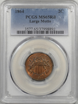 Two Cent Pieces 1864 TWO CENT PIECE – LARGE MOTTO, PCGS MS-65 RB