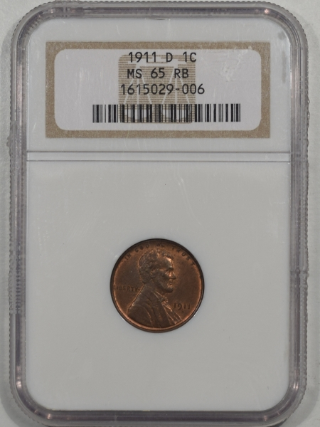Lincoln Cents (Wheat) 1911-D LINCOLN CENT NGC MS-65 RB