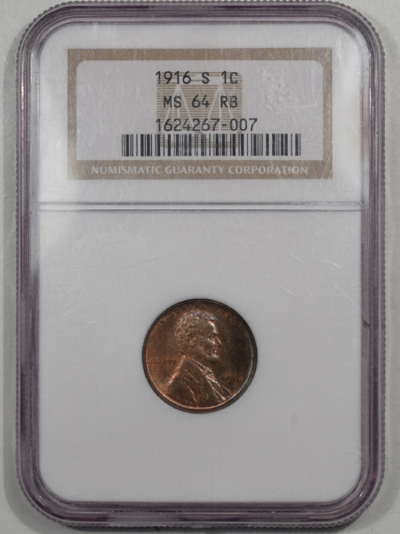 Lincoln Cents (Wheat) 1916-S LINCOLN CENT NGC MS-64 RB