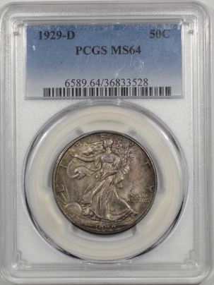 Walking Liberty Halves 1929-D WALKING LIBERTY HALF DOLLAR PCGS MS-64