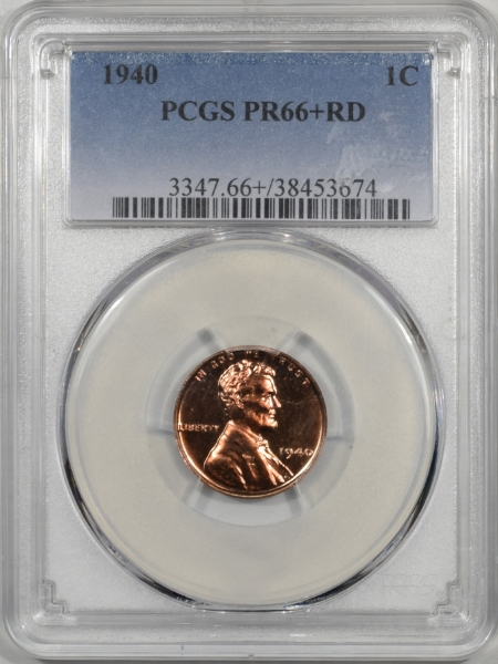 Lincoln Cents (Wheat) 1940 PROOF LINCOLN CENT PCGS PR-66+ RD PREMIUM QUALITY!