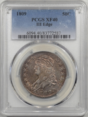 Early Halves 1809 CAPPED BUST HALF DOLLAR – III EDGE, PCGS XF-40
