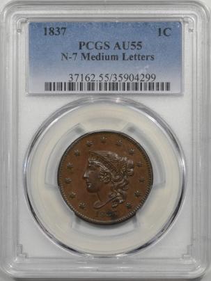 1837-1C-N7-PCGS-AU55-299-1