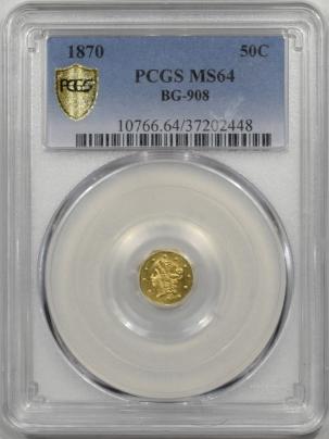 Territorial/California Fractional Gold 1870 50c FRACTIONAL GOLD – BG-908, PCGS MS-64