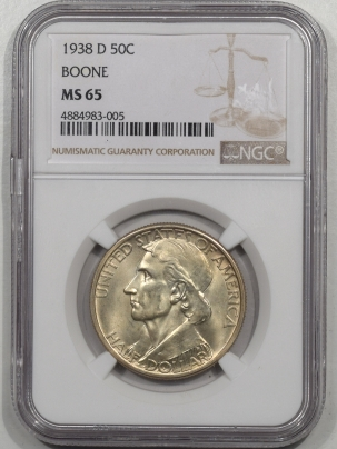 Silver 1938-D BOONE COMMEMORATIVE HALF DOLLAR NGC MS-65