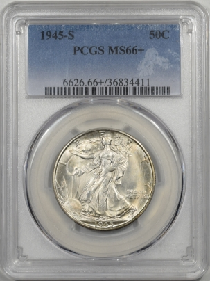 Walking Liberty Halves 1945-S WALKING LIBERTY HALF DOLLAR PCGS MS-66+ PREMIUM QUALITY!