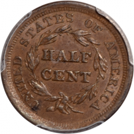 Braided Hair Half Cents 1856 BRAIDED HAIR HALF CENT PCGS AU-58