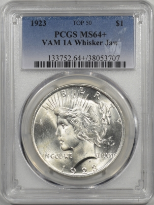 Coin World/Numismatic News Featured Coins 1923 PEACE DOLLAR VAM-1A WHISKER JAW PCGS MS-64+ TOP 50
