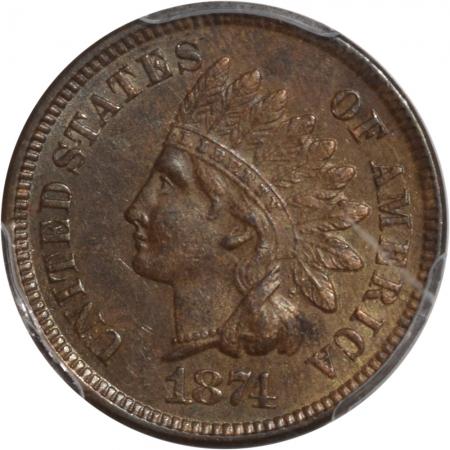 Indian 1874 INDIAN CENT PCGS AU-55