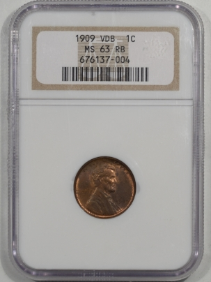 Lincoln Cents (Wheat) 1909 VDB LINCOLN CENT NGC MS-63 RB