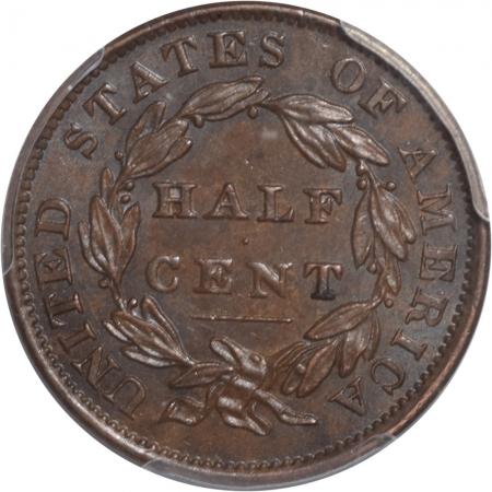 Classic Head Half Cents 1834 CLASSIC HEAD HALF CENT PCGS MS-62 BN