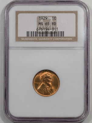 Lincoln Cents (Wheat) 1929 LINCOLN CENT NGC MS-65 RD