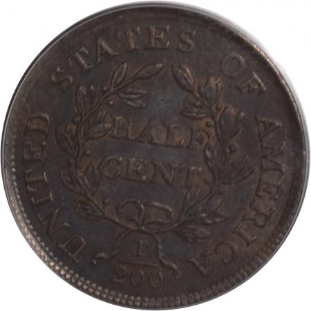 On Sale 1804 DRAPED BUST HALF CENT – PLAIN 4 NO STEMS, PCGS MS-62 BN