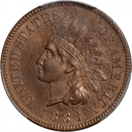 On Sale 1886 PROOF INDIAN CENT – TY I, PCGS PR-65 BN
